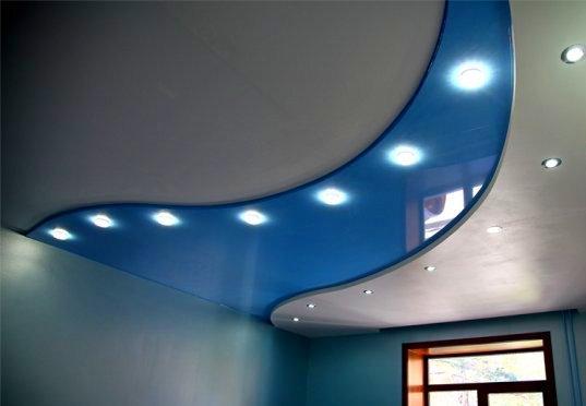 фото многоуровневого натяжного потолка
